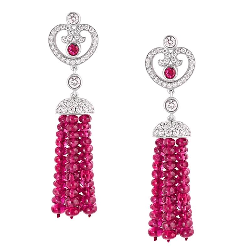 Ruby and Diamond Earrings - Fabergé Impératrice Ruby Tassel Earrings