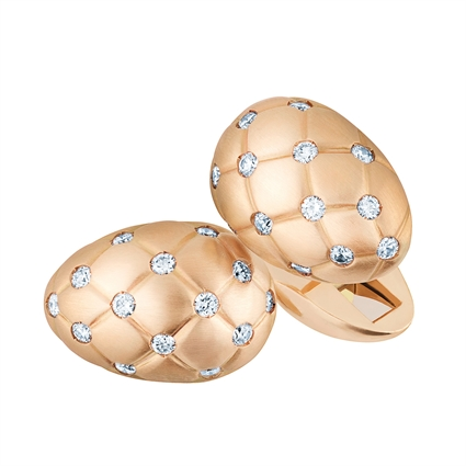 18K Matt Rose Gold & White Diamonds Fabergé Egg Cufflinks