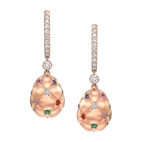 Multicoloured Sapphire, Ruby & Diamond Fabergé Egg Earrings