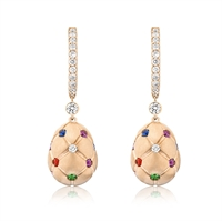 Treillage Multi-coloured Rose Gold Drop Earrings