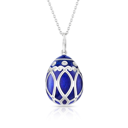 White Gold Diamond & Royal Blue Guilloché Enamel Egg Pendant | Fabergé