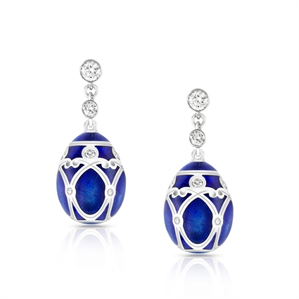 Royal Blue Enamel, White Gold & Diamond Fabergé Egg Earrings