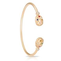 Rose Gold and Gemstone Bangle Bracelet - Fabergé Treillage Multi-Coloured Rose Gold Bangle