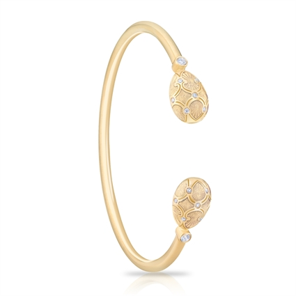 Yellow Gold, Diamond & White Enamel Open Bracelet | Fabergé