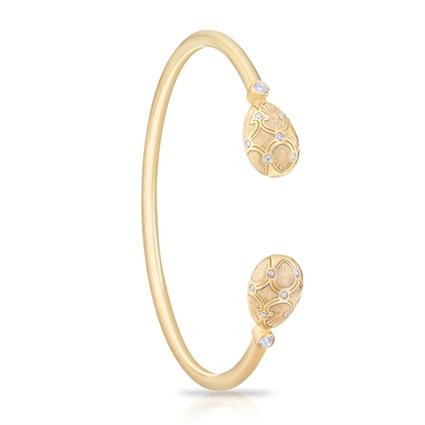 Yellow Gold Diamond & White Guilloché Enamel Open Bracelet | Fabergé