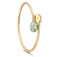 Turquoise Enamel and Diamond Bangle - Fabergé Palais Tsarskoye Selo Turquoise Crossover Bangle