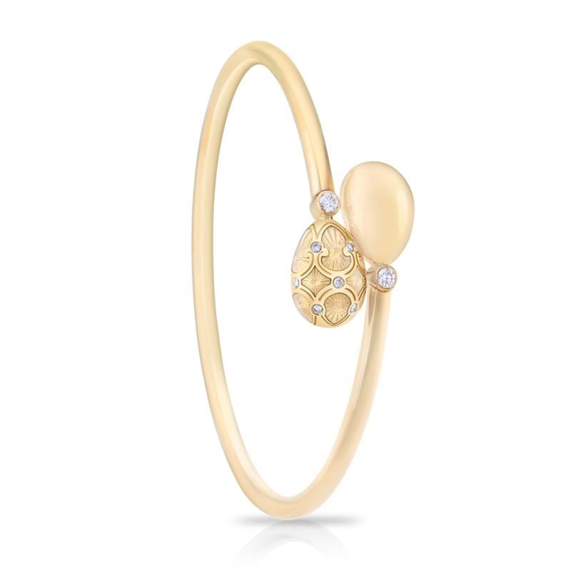 Gold, Diamond, Opalescent Enamel Fabergé Egg Crossover Bangle
