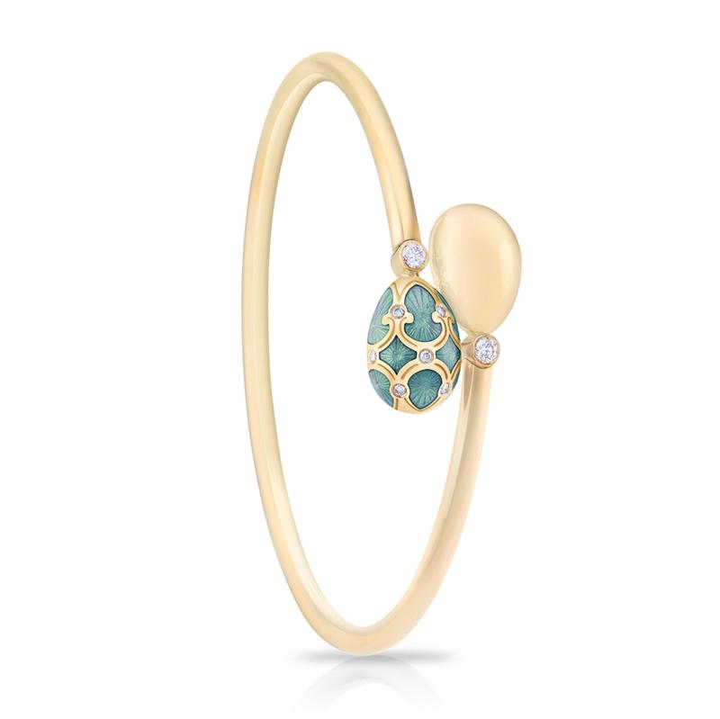 Turquoise Enamel and Diamond Bangle - Fabergé Palais Tsarskoye Selo Turquoise Crossover Bangle