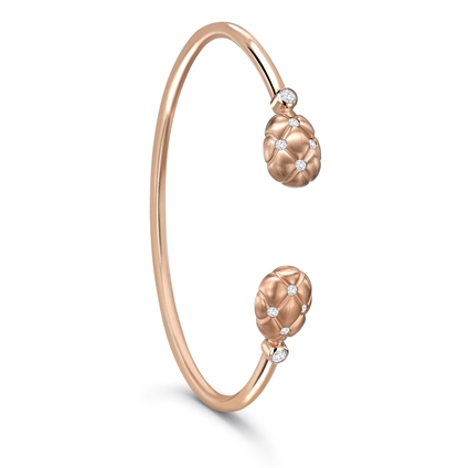 White Diamond & 18K Rose Gold Open-Set Bangle | Fabergé