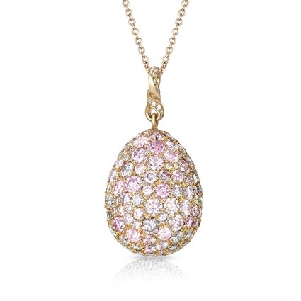 Rose Gold Pink & White Diamond Egg Pendant   Fabergé