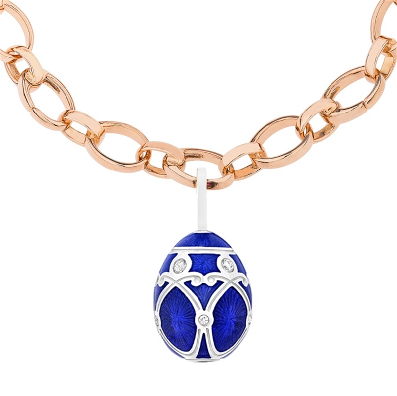Palais Yelagin Royal Blue Charm – Fabergé egg charm featuring blue guilloche enamel and round white diamonds, set in 18 karat white gold.