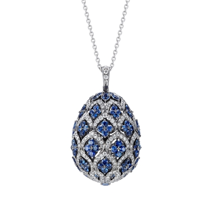 Faberge Egg Pendant – Zenya Sapphire Egg Pendant