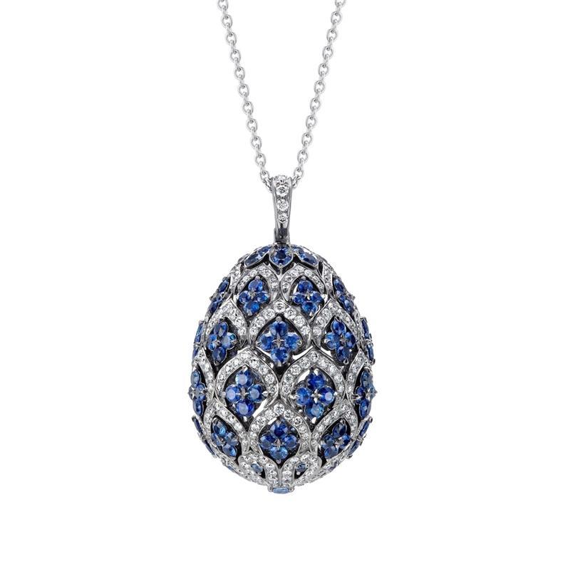 Zenya White Gold & Blue Sapphire Egg Pendant I Fabergé