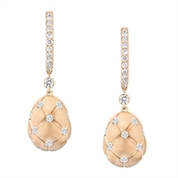 Faberge Earrings - Treillage Diamond Rose Gold Matt Drop Earrings