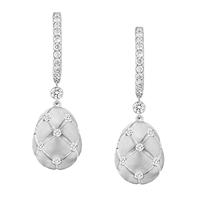 Faberge White Gold Diamond Drop Earrings - Treillage Diamond White Gold Matt Drop Earrings