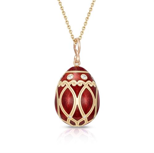 Yellow Gold Diamond & Red Guilloché Enamel Egg Pendant | Fabergé
