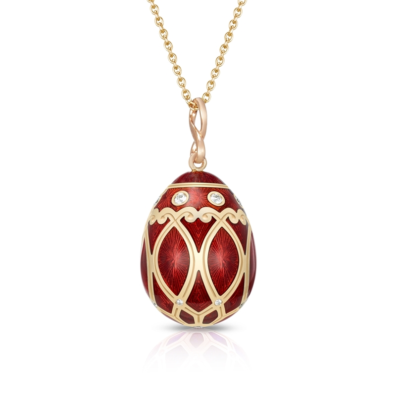 Palais Yelagin Red Pendant - Fabergé egg pendant featuring red guilloché enamel and round white diamonds, set in 18 karat rose gold.