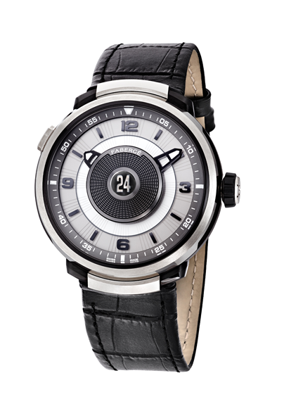 Visionnaire DTZ Timepiece – with white gold, numerals and black alligator strap.