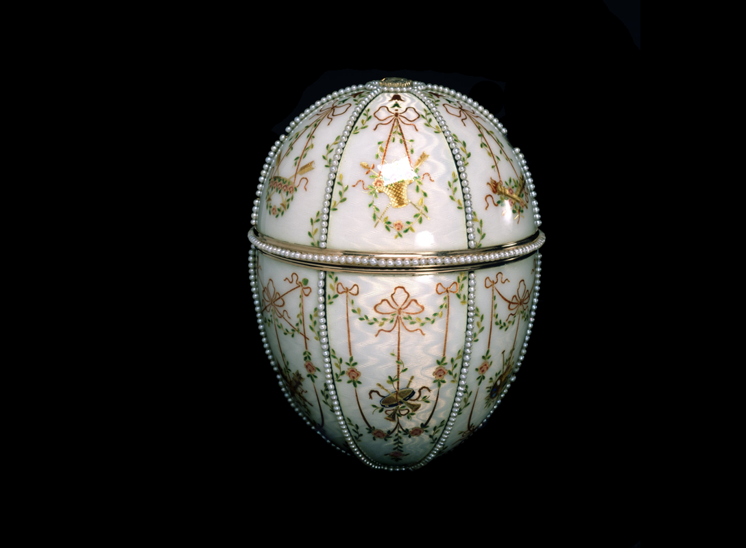The Gatchia Palace Egg was presented by Emperor Nicholas to his mother the Dowager Empress Maria Fedorovna on Easter Day 1901. It is regarded as one of Fabergé's best compositions. Made of varicoloured gold, it is embellished with green, red, yellow and white enamels as well as pearls.