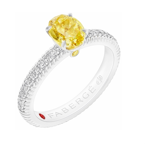 Platinum Oval Cut Yellow Diamond Fluted Ring With Diamond Shoulders | Fabergé