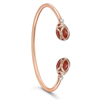 Palais Yelagin Red Open-set Bangle - Fabergé Bangle Bracelet featuring red guilloché enamel and white diamonds, set in 18 karat rose gold.