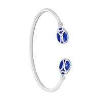Palais Yelagin Royal Blue Open-set Bangle - Fabergé Bangle Bracelet featuring blue guilloché enamel and white diamonds, set in 18 karat white gold.