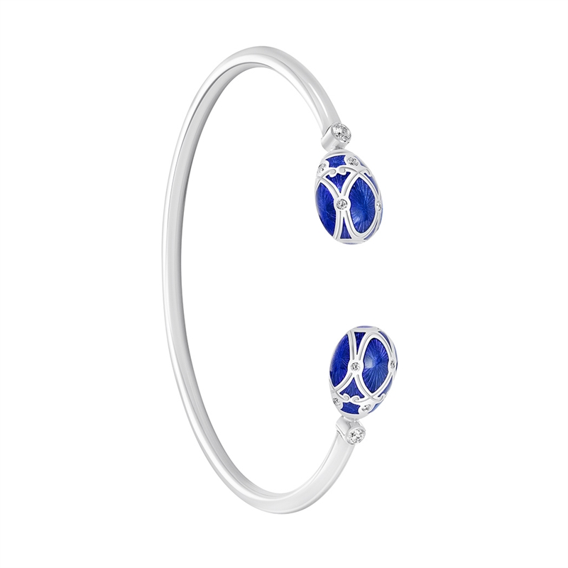 Palais Yelagin Royal Blue Open-set Bangle - Fabergé Bangle Bracelet featuring blue guilloché enamel and white diamonds, set in 18 karat white gold.