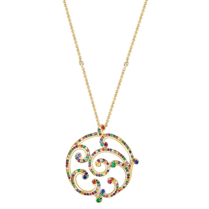 Yellow Gold Multicoloured Gemstone Grand Pendant I Fabergé