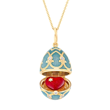 Yellow Gold Diamond & Turquoise Guilloché Enamel Heart Surprise Locket | Fabergé