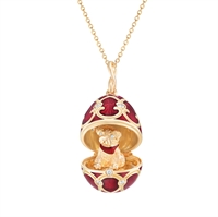 Palais Tsarskoye Selo Red Locket with Dog Surprise - Fabergé egg pendant featuring red guilloché enamel and round white diamonds set in 18kt yellow gold. Locket opens to show a dog with diamond eyes.