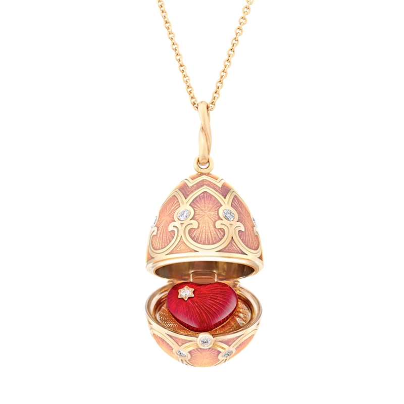 Fabergé Palais Tsarskoye Selo Pink Heart Locket � Faberg� Egg Pendant featuring pink guilloch� enamel and round white diamonds, set in 18 karat rose gold. Locket opens to reveal a red enamel heart.