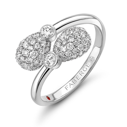 Fabergé Emotion Diamond Crossover Ring � featuring 92 round white diamonds and 1 ruby, set in 18kt white gold in a crossover shape.