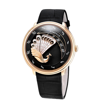 Lady Compliquée Peacock Rose Gold Black Timepiece – ladies timepiece featuring matt black lacquer dial, hand-engraved peacock, black painted mother-of-pearl hour and minute indicators and black alligator strap
