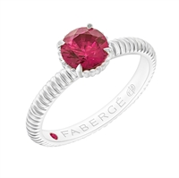 Ruby Centre Stone Fluted Platinum Ring
