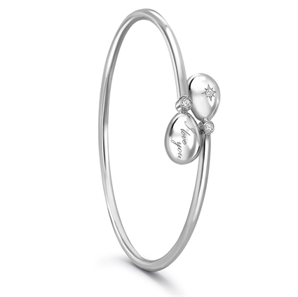 White Gold I Love You Crossover Bracelet | Fabergé