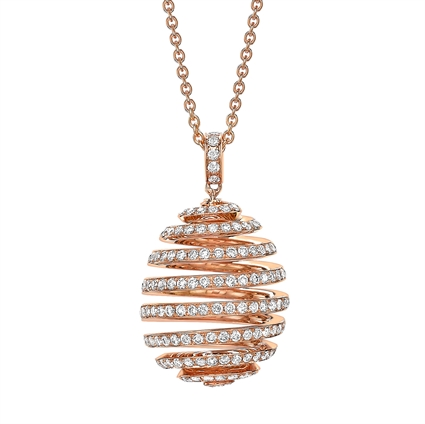 Fabergé Essence Rose Gold Diamond Pavé Spiral Egg Pendant - Fabergé