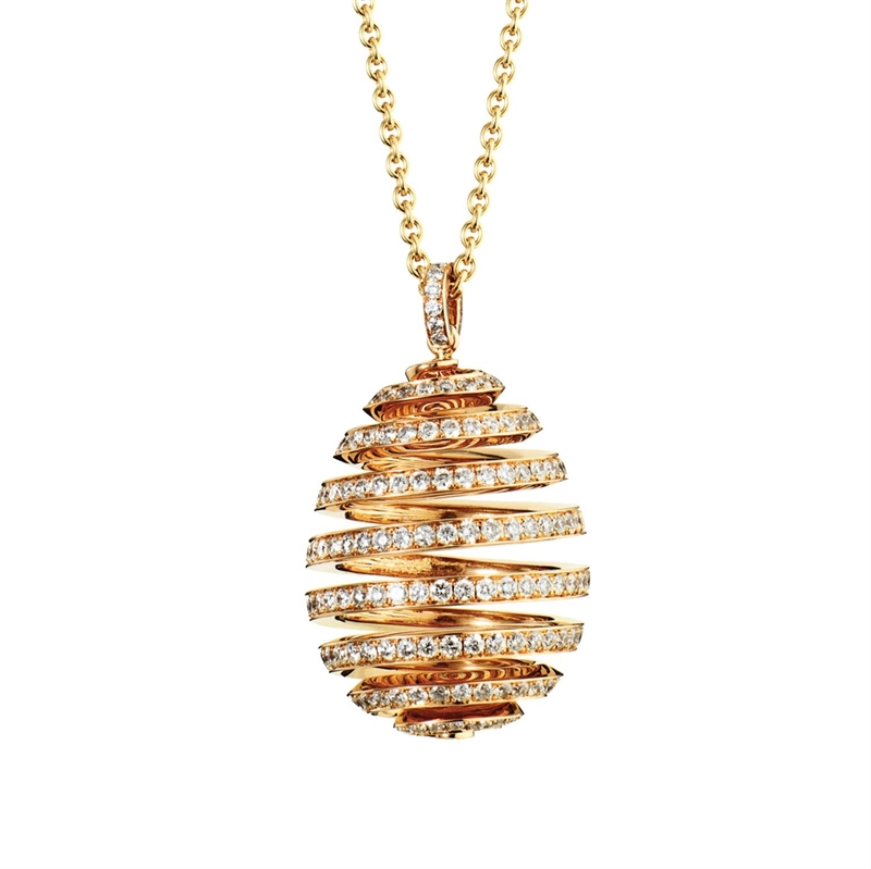Diamond Rose Gold Pendant - Fabergé  Spiral Diamond Rose Gold Pendant