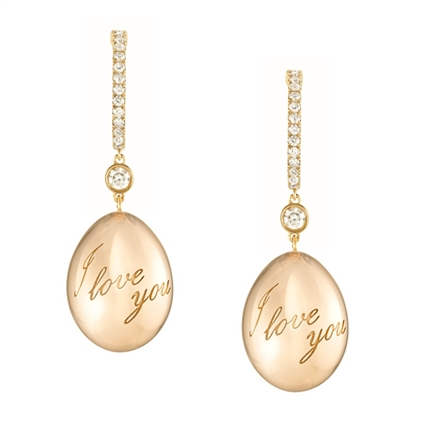 Fabergé Earrings - Simple I Love You Yellow Gold Earrings