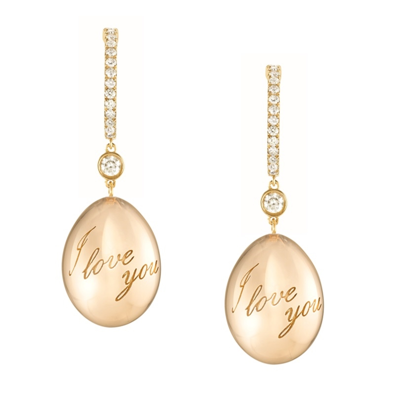 Simple Yellow Gold 'I Love You' Fabergé Egg Earrings