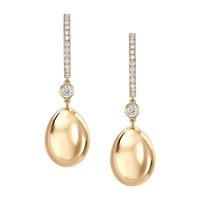 Yellow Gold Egg Hoop Drop Earrings I Fabergé