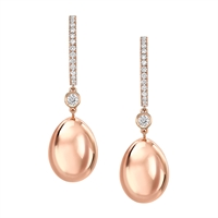 Simple Rose Gold & White Diamond Fabergé Egg Earrings