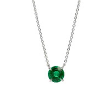 White Gold Emerald Chevron Pendant | Fabergé