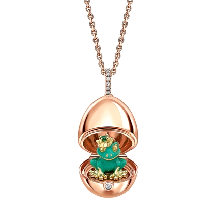 Rose Gold & Green Lacquer Frog Surprise Locket | Fabergé