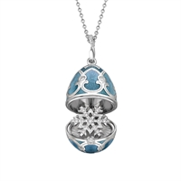 Fabergé Egg Locket Pendant - Palais Tsarskoye Selo Snowflake Locket