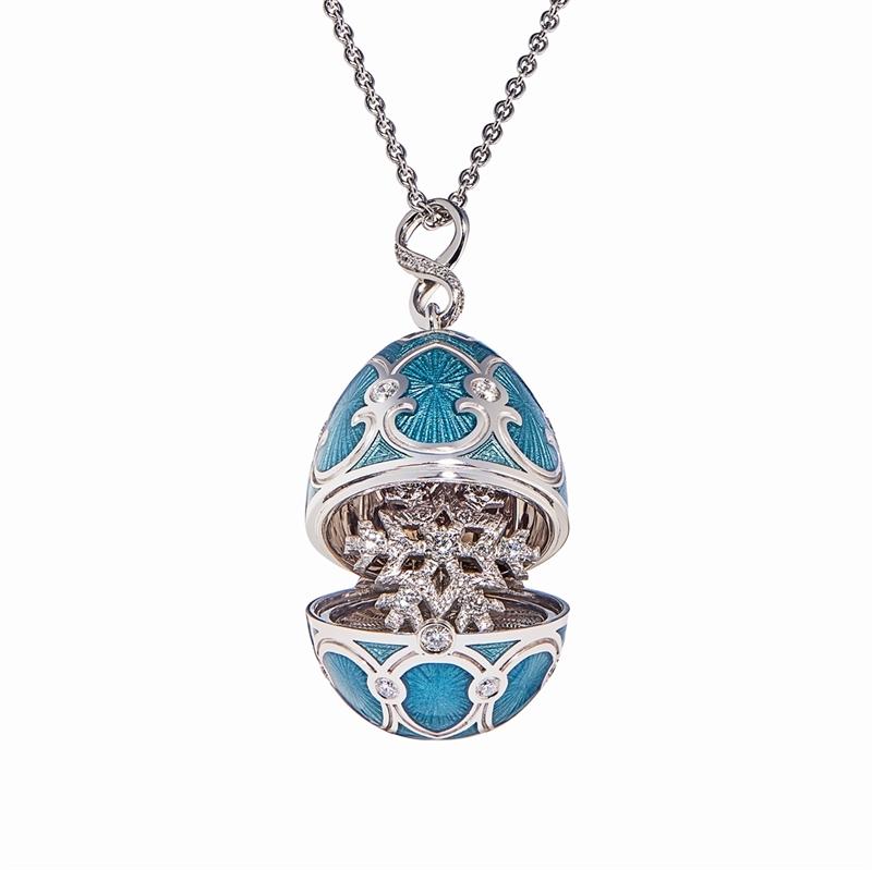 Fabergé Ei-Medaillon-Anhänger – Palais Tsarskoye Selo Schneeflocken-Medaillon