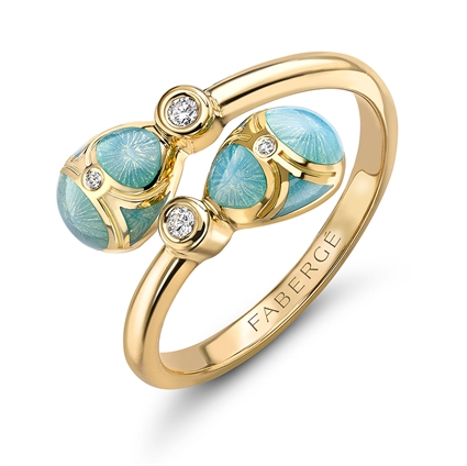 Yellow Gold Diamond & Turquoise Guilloché Enamel Crossover Ring | Fabergé