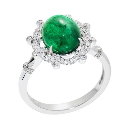 Emerald & Diamond Platinum Ring