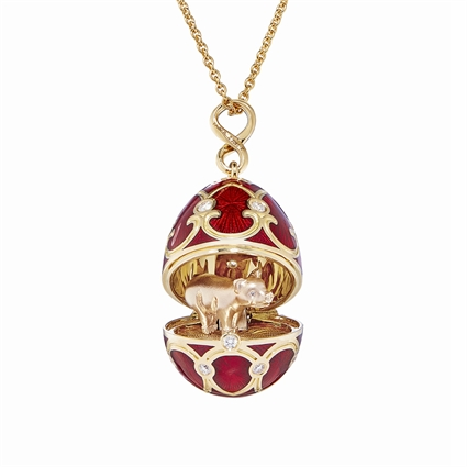 Fabergé Egg Locket Pendant - Palais Tsarskoye Selo Red Locket with Pig Surprise