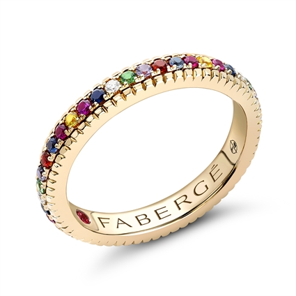 Yellow Gold Multicoloured Gemstone Set Fluted Ring | Fabergé