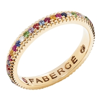 Multicoloured Yellow Gold Fluted Engagement Ring from Fabergé